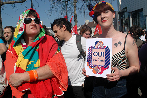 Pro gay marriage protesters gather Place de la Bastille to protest against homophobia in Paris, France, on April 21, 2013, two days ahead of a decisive parliamentary vote on the bill that would make France the 14th country in the world to legalise same-sex marriage. Photo by Alain Apaydin/ABACAPRESS. COM