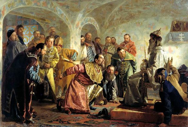 «Опричники», художник Н.В. Неврев (изображено убийство боярина И.П. Федорова (1568), которого Грозный, обвинив в желании захватить власть, заставил надеть царские одежды и сесть на трон, после чего зарезал)