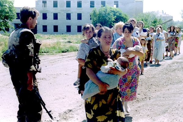 Women and children hostages walk out of captivity, after spending four days in the Budennovsk hospital, where Chechen gunmen took them hostage after killiing several dozen of the towns' people in Budennovsk June 17.