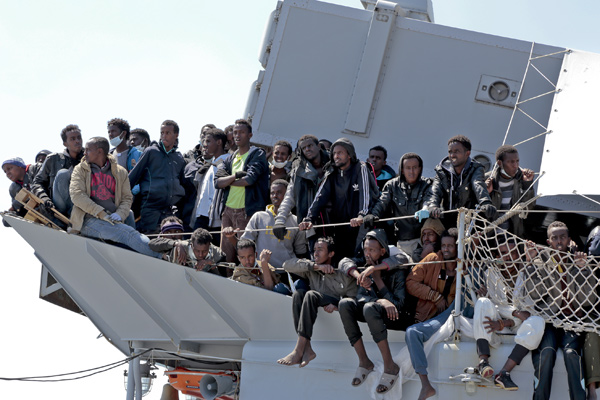 Salerno, Italy - The tanker ''Chimera'' with 545 immigrants is arrived in Salerno port
