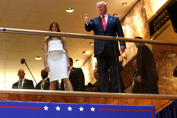 U.S. Republican presidential candidate, real estate mogul and TV personality Donald Trump arrives by escalator inside at Trump Tower to announce his campaign for the 2016 Republican presidential nomination in New York June 16, 2015.