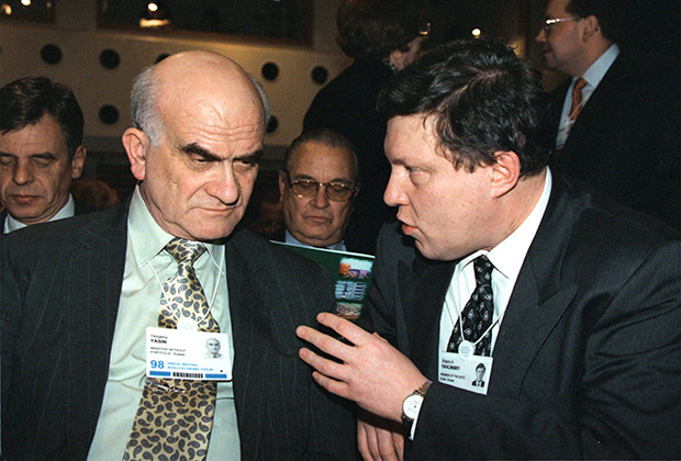 Евгений Ясин и Григорий Явлинский на Всемирном экономическом форуме в Давосе, 1998 год