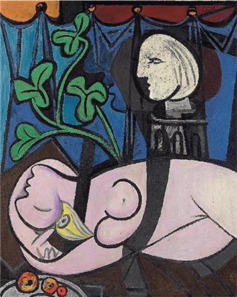 Обнаженная, зеленые листья и бюст, 1932 год