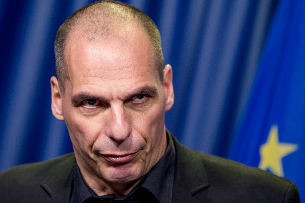 Greek Finance Minister Yanis Varoufakis holds a news conference during a Euro zone finance ministers emergency meeting on the situation in Greece in Brussels, Belgium June 27, 2015. Euro zone finance ministers plan to meet later on Saturday without their Greek counterpart following the conclusion of a meeting of all 19 ministers which has resumed for now, euro zone officials said.  REUTERS/Yves Herman  - RTX1I232