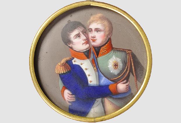 Медальон «Миниатюра на тему Тильзитского мира» Франция. Изображение объятий Наполеона и Александра I