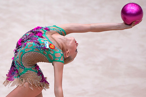 BUDAPEST, Aug. 10, 2015  Yana Kudryavtseva of Russia performs in the ball final at the Hungarian Rythmic Gymnastics World Cup in Budapest, Hungary on Aug. 9, 2015. Yana Kudryavtseva claimed the title with 19.200 points. (Credit Image: © Attila Volgyi/Xinhua via ZUMA Wire)