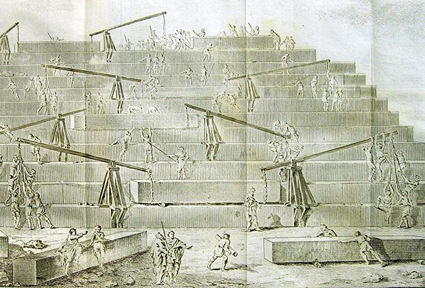 Реконструкция процесса строительства пирамид по Геродоту (гравюра XVIII века)