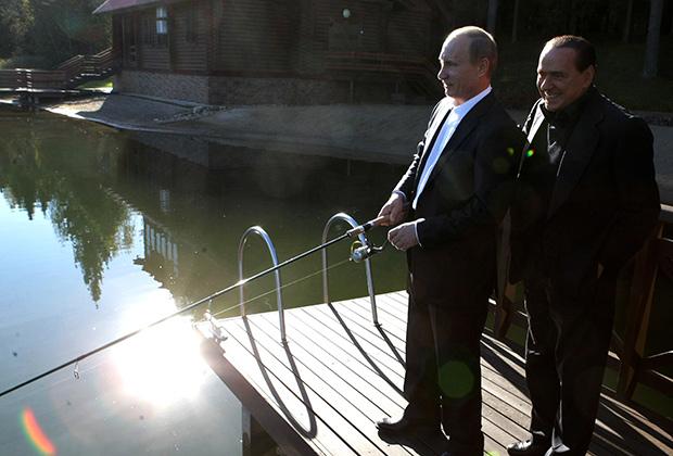 Владимир Путин и Сильвио Берлускони не прочь порыбачить вместе