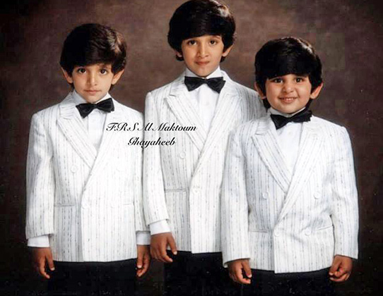 Три сына эмира: слева направо — Хамдан, Рашид, Мактум
