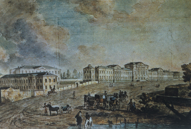 """Картина «Москва. Военный госпиталь», известная также под названием """"Военный госпиталь в Лефортово"""", создана мастером городского пейзажа Федором Яковлевичем Алексеевым (1753-1824 гг.).  Репродукция."""