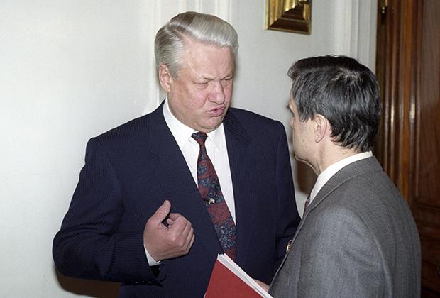 Борис Ельцин и Руслан Хасбулатов