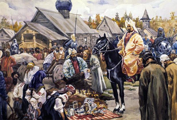 Сбор налогов для Золотой Орды в русском городе