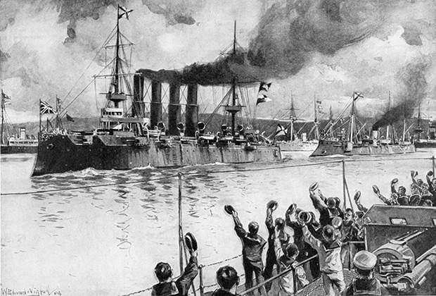Крейсер «Варяг» выходит из порта, февраль 1904 года