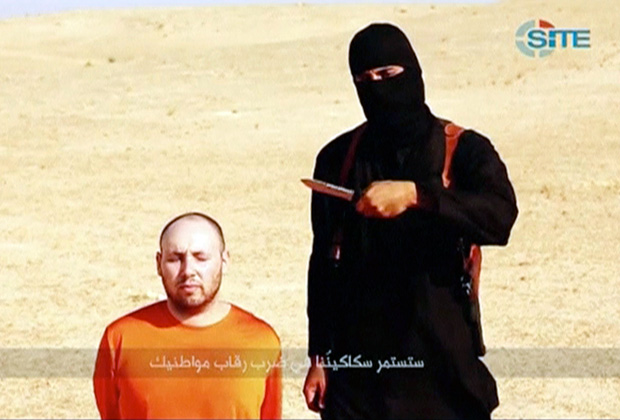 Кадр из видеоролика, на котором запечатлена казнь американского журналиста Стивена Сотлоффа