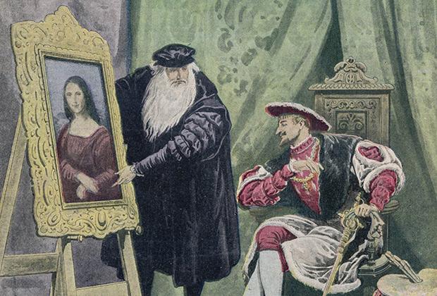 Леонардо да Винчи показывает свою знаменитую Мону Лизу, написанную специально для Франциска I. Год спустя ее похитят, а затем возвратят владельцу.