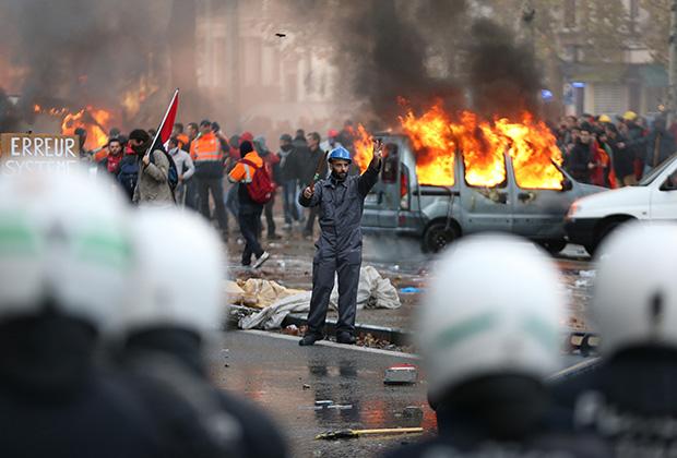 Столкновения в центре Брюсселя