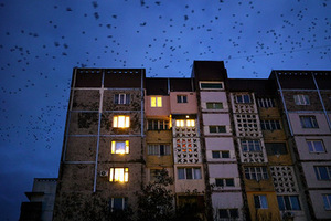 """Mandatory Credit: Photo by Amos Chapple/REX Shutterstock (2148301v) Crows fly over rooftops in Tiraspol, the 'capital' of Transnistria Soviet breakaway republic of Transnistria, Moldova, Europe - Feb 2013 *Full story: http://www.rexfeatures.com/nanolink/k3u6  Located on a sliver of land running along the eastern border of Moldova, the self declared independent country of Transnistria clings to its Soviet roots. Located on the border of the Ukraine, Transnistria has its own government, parliament, military, police and postal system, but remains unrecognised internationally.  And this time-slip territory maintains a Soviet feel that has been described as """"surreal"""", with even the flag sporting the hammer and sickle emblem of Communism. Unhappy with changes that had taken place following the demise of Communism, the region proclaimed its secession from Moldova in September 1990. Two months later, when Moldovan police attempted to forcibly remove new checkpoints to the region, a civil war was ignited. Lasting for two years, this conflict cost the lives of approximately 700 fighters and civilians."""