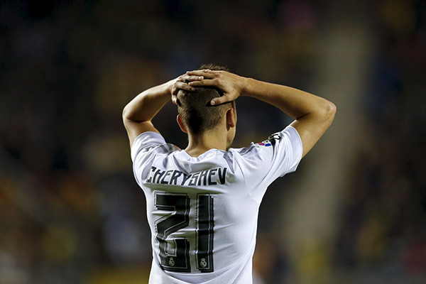Real Madrid's Cherishev laments after missing a scoring opportunity against Cadiz during their Spanish King's Cup round of 32 first leg soccer match at Ramon de Carranza stadium in Cadiz, southern Spain December 2, 2015. REUTERS/Marcelo del Pozo   - RTX1WWP6