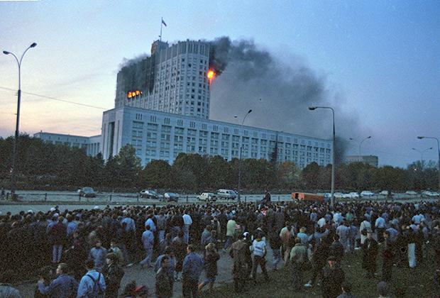 Дом Советов России после обстрела, 1993 год