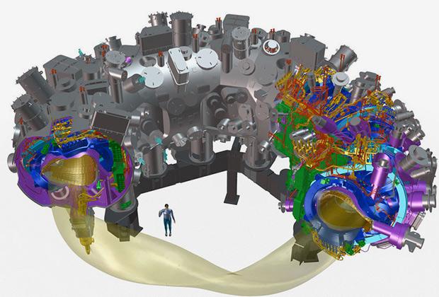 Модель стелларатора Wendelstein 7-X, тороподобная геометрия магнитного поля и их сравнение с размерами человека