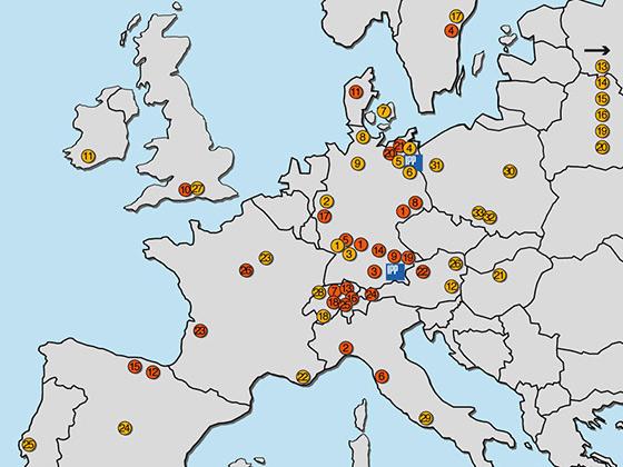 География участников проекта Wendelstein 7-X (на территории Европы)