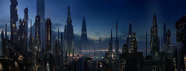 Столичная планета Корусант впервые появляется в романе Тимоти Зана «Наследник Империи».