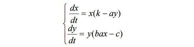 Система уравнений модели Лотки-Вольтерры