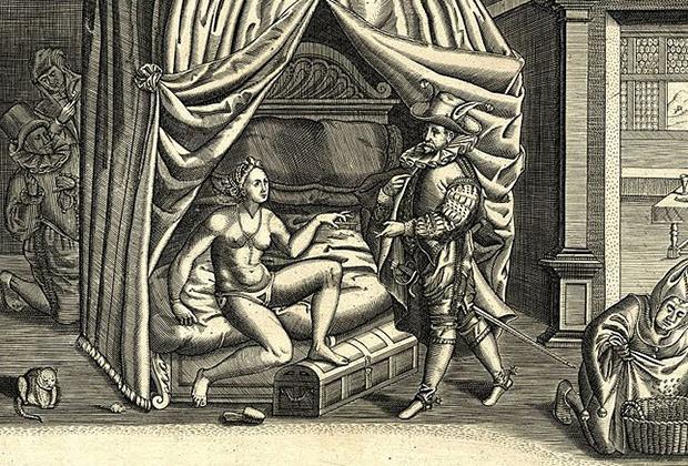 Пояс целомудрия на гравюре 1590 года