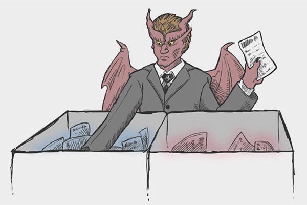 Демон Максвелла за работой (в представлении художника)
