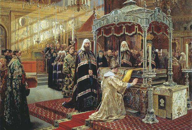 Фрагмент картины Александра Литовченко «Царь Алексей Михайлович и Никон у гроба святого Филиппа»