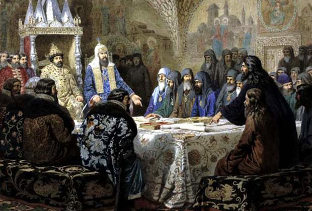 Репродукция картины Алексея Кившенко «Церковный Собор 1654 года»