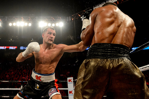 MONTREAL, QC - JANUARY 30: Sergey Kovalev of Russia lands a jab on Jean Pascal of Canada during the WBO, WBA, and IBF light heavyweight world championship match at the Bell Centre on January 30, 2016 in Montreal, Quebec, Canada. (Photo by Minas Panagiotakis/Getty Images)