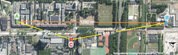 Положение детекторов в нидерландском эксперименте