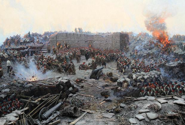 Фрагмент картины Франца Алексеевича Рубо «Оборона Севастополя»