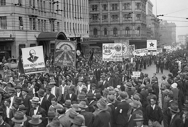 Демонстрация против безработицы в Сиднее (Австралия), 1931 год