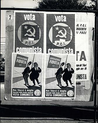 Листовки Коммунистической партии Италии, расклеенные в Риме перед выборами, 1954 год