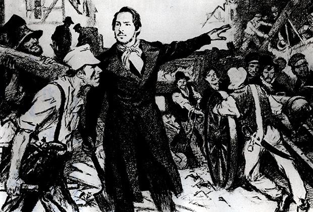 Фридрих Энгельс руководит возведением баррикад на улицах прусского города Эльберфельд, 1849 год