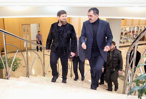 Рамзан Кадыров и Юнус-Бек Евкуров на встрече 21 февраля 2016 года
