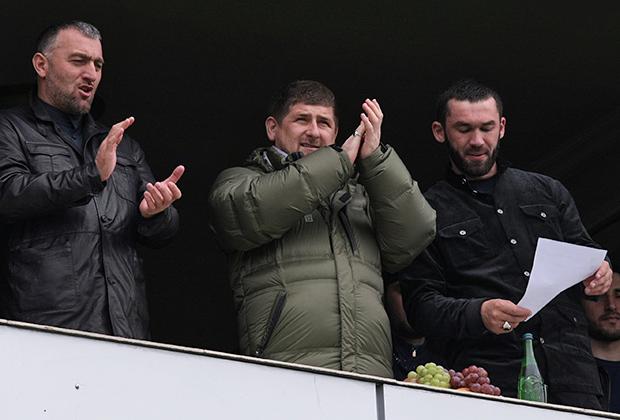 Депутат Госдумы Адам Делимханов, глава Чечни Рамзан Кадыров и председатель парламента республики Магомед Даудов, 2010 год