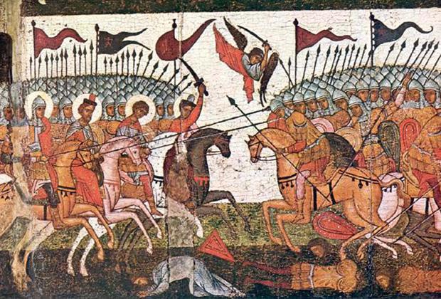 Битва новгородцев и суздальцев в 1170 году, фрагмент иконы 1460 года