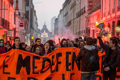 France-Rennes, March 15,2016 Students gathered in the center of Rennes, Tuesday evening. They protest against the law El Khomri.