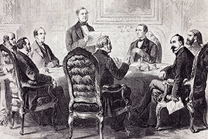 01ARDKP3 - The opening of the new session in the Foreign Office, April 7, 1856, during the Paris Congress. Crimean War, France, 19th century.