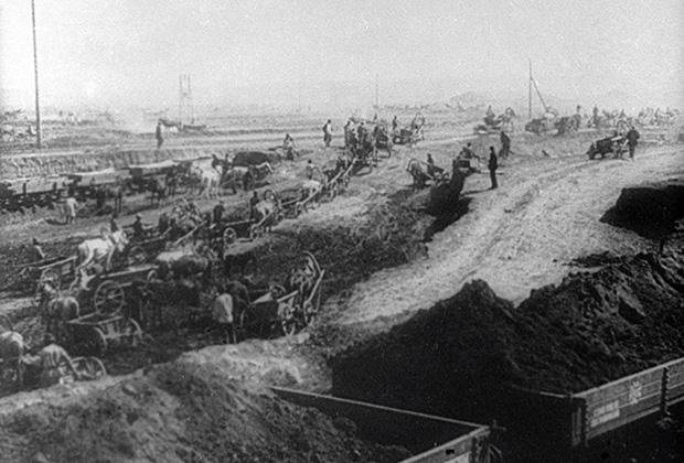 Строительство Магнитогорского металлургического комбината. 1929 год