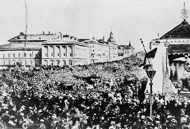 Толпы на улицах Москвы празднуют отмену крепостного права, 1861 год