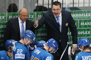 MOSCOW, RUSSIA. MAY 8, 2016. Kazakhstan's head coach Andrei Nazarov and assistant coach Igor Kalyanin (R-L backfround) in their 2016 IIHF World Championship Preliminary Round Group A ice hockey match against Russia at VTB Ice Palace. Team Russia won the game 6-4. Artyom Korotayev/TASS