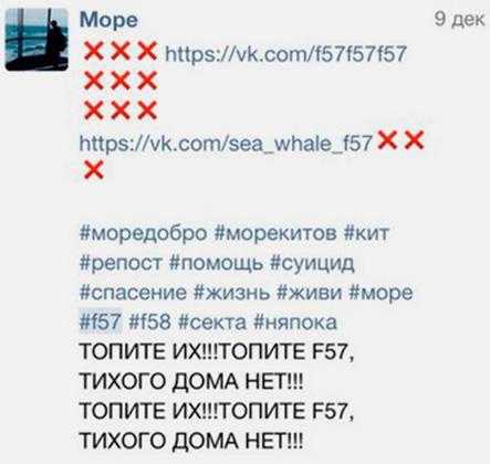 Пример спама ссылками на группу «Моря Китов».