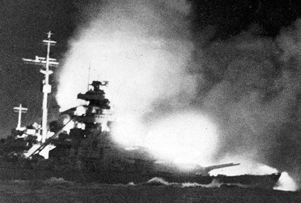 Снимок сделан с «Принца Ойгена» вечером 24 мая, в ходе второго короткого боя с «Принцем Уэльским» и крейсерами Королевского флота.