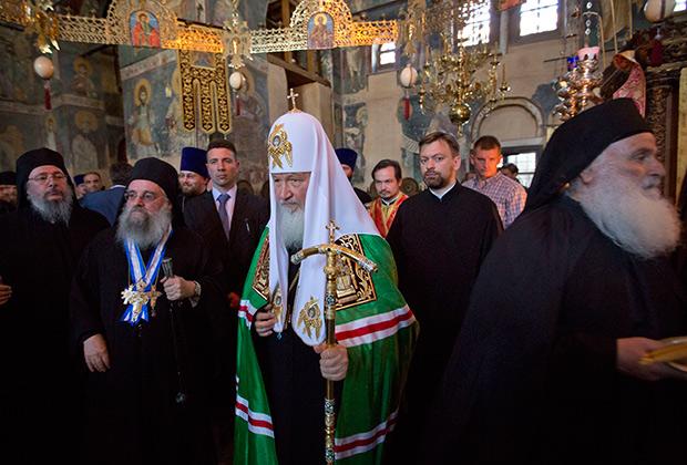 Патриарх всея Руси Кирилл также прибыл на Афон для празднования тысячелетия присутствия русских монахов на Святой горе