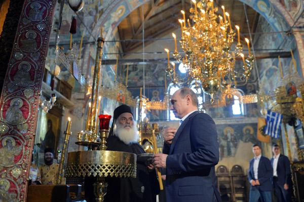 Владимир Путин в храме Успения Пресвятой Богородицы на Святой горе Афон