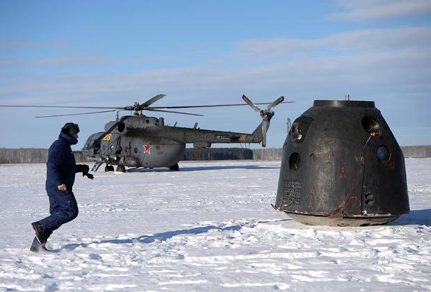 Приземление корабля «Союз ТМА-М»